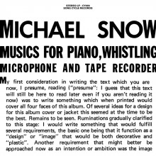 0889397719999 MUSIC FOR PIANO, WHISTLING, MICROPHONE AND TAPE RECORDER